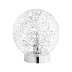 Lampe tactile en verre et filament métallique gris - Ø 18 x H 20 cm
