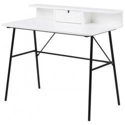 PASCAL Bureau contemporain laqué blanc + pieds en acier laqué noir - L 100 cm
