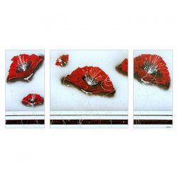 FLOWER Tableau multi-panneaux Toile peinte 70x140 cm rouge