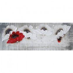 FLOWERS Tableau déco toile peinte 30x90 cm rouge et blanc