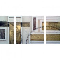 CUBIC Tableau multi-panneaux Toile peinte 70x140 cm beige