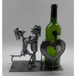 Porte bouteille Décoration Amoureux 28x11x21cm - Métal