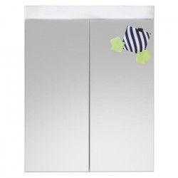AMANDA Armoire de toilette mélaminé L 60 cm - Blanc mat et blanc brillant