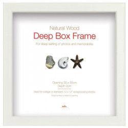 Cadre photo Deep Box - Bois - 30 x 30 cm - Blanc