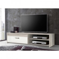 FINLANDEK Meuble TV KATSO contemporain décor chene cendré et blanc brillant - L 120 cm