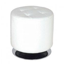 Pouf rond 40 cm blanc et chromé