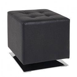 Pouf carré 40 cm noir et chromé