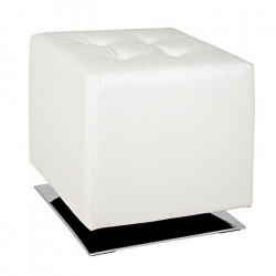 Pouf carré 40 cm blanc et chromé