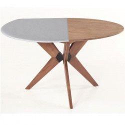 Protege-table ronde réversible 140 a 160 cm blanc