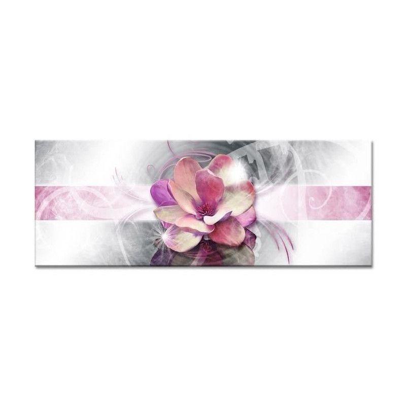 flower tableau d co toile imprim e 80x30 cm rose. Black Bedroom Furniture Sets. Home Design Ideas