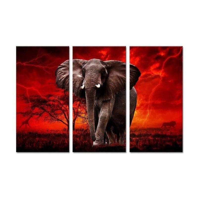 elephant tableau multi panneaux 120x80 cm rouge animaux. Black Bedroom Furniture Sets. Home Design Ideas