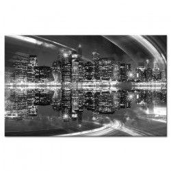 CITY Tableau déco toile imrpimée 80x50 cm noir ville