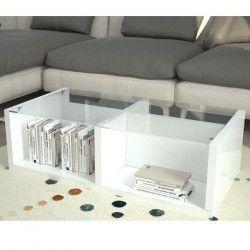 FINLANDEK Table basse TYLSA style contemporain Blanc laqué et verre - L 100 x l 55 cm