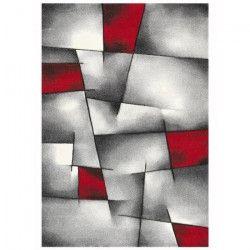 BRILLANCE Tapis de salon 80x150 cm rouge, noir et gris
