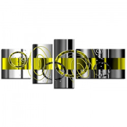 HEXOA Tableau multi panneaux abstrait Ledi 160x60 cm jaune