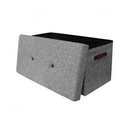 Coffre Banc pliable en tissu - 76,5x37,5x37,5 cm - Gris
