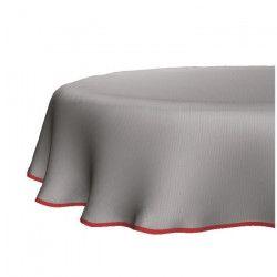 KLIMT Nappe coton enduit ovale 160x210cm finition biais rouge