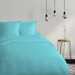 COTE DECO Housse de couette 100% coton 140x200 cm - Bleu turquoise