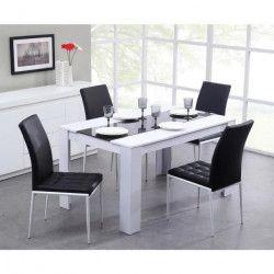 DAMIA Table a manger de 4 a 6 personnes style contemporain blanc et noir mat - L 140 x l 90 cm