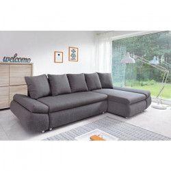 OLIVER Canapé d`angle réversible convertible 4 places + Coffre de rangement - Tissu gris anthracite - L 273 x P
