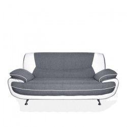 SPACIO Canapé droit fixe 3 places - Tissu gris et simili blanc - Contemporain - L 194 x P 86 cm