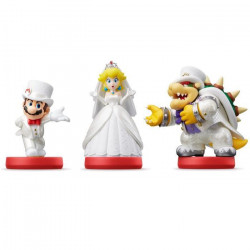 3 Amiibos Collection Super Mario Odyssey - Bowser + Mario + Peach en tenue de mariage