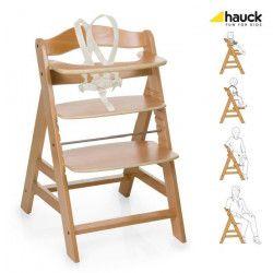 HAUCK Chaise Haute en Bois pour bébé Évolutive Alpha + / natural