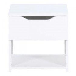 STELL Chevet contemporain laqué blanc brillant - L 40 cm