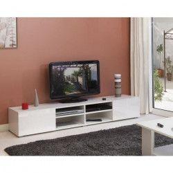 LIME Meuble TV contemporain blanc laqué brillant - L 185 cm