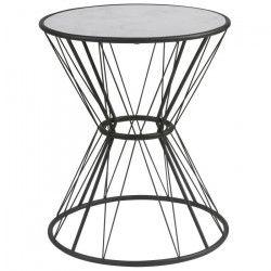 MARBELOUS Bout de canapé/Table d`appoint ronde style vintage décor marbré et noir - L 42 x l 42 cm