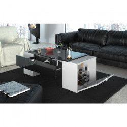 LUCKY Table basse style contemporain noir brillant et blanc mat - L 123 x l 42 cm