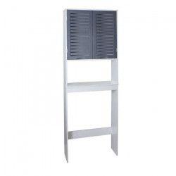 LINDA Armoire WC L 63 cm - Blanc et gris mat