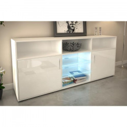 KORA Buffet bas avec LED contemporain blanc brillant et mat - L 180 cm