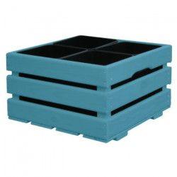 Jardiniere pour 4 pots - 43 x 43 x 26 cm - Bleu