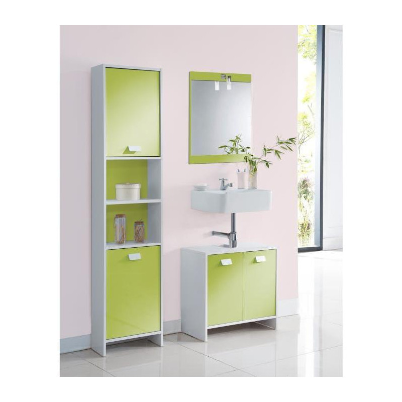 top colonne de salle de bain l 40 cm blanc et vert. Black Bedroom Furniture Sets. Home Design Ideas