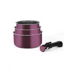 ARTHUR MARTIN Amovible set de 3 casseroles 16-18-20 cm + 1 poignée PRUNE