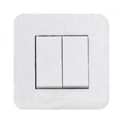 LEGRAND Double interrupteur Mosaic avec plaque 10 A blanc