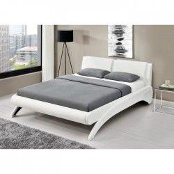 GRAVITY Lit adulte 140x190 cm en simili + tete de lit + sommier - Blanc