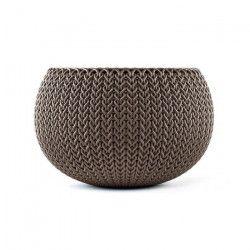 CURVER Pot de fleur - Aspect tricot - 28 cm - Marron chocolat