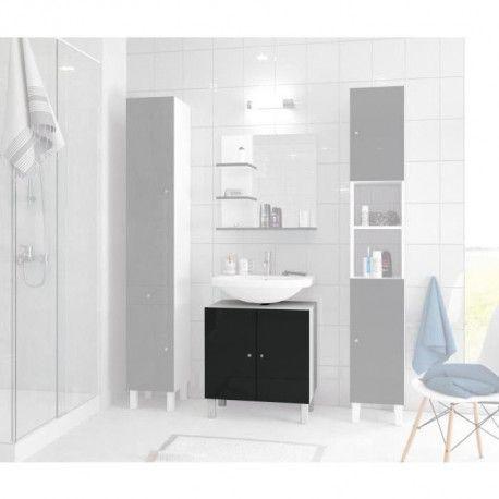 Corail meuble sous lavabo l 60 cm noir laqu for Meuble sous lavabo noir