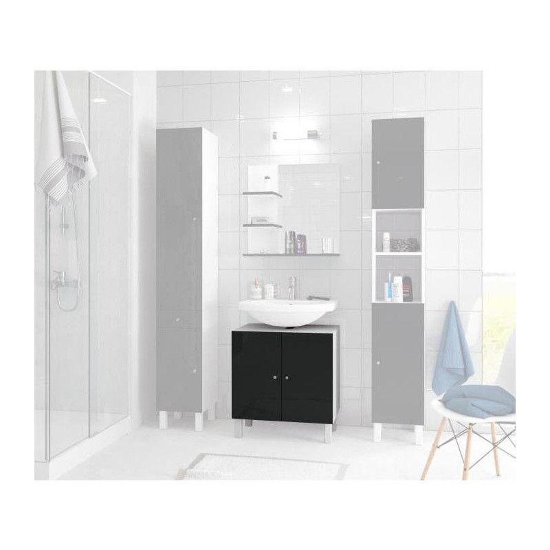 corail meuble sous lavabo l 60 cm noir laqu. Black Bedroom Furniture Sets. Home Design Ideas