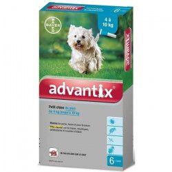 ADVANTIX 6 pipettes antiparasitaires - Pour petit chien de 4 a 10kg