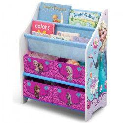 LA REINE DES NEIGES - Meuble Enfant de Rangement Jouets/Livres en Bois - Rose et Multicolore