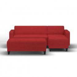 FINLANDEK Canapé d`angle réversible + banc KULMA 3 places - Tissu rouge - Contemporain - L 205 x P 141 cm