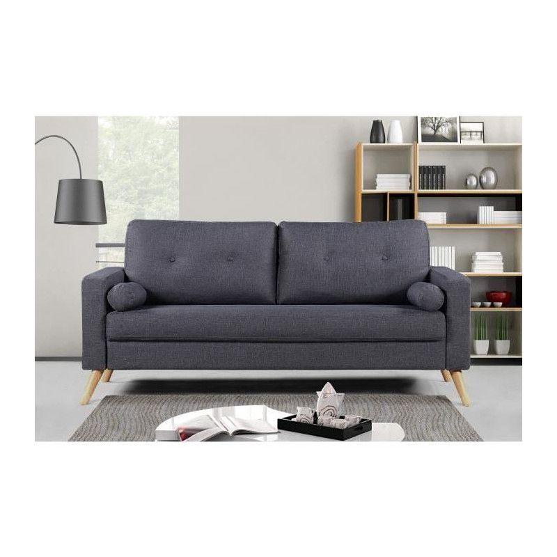 ibra canap droit fixe 3 places gris anthracite. Black Bedroom Furniture Sets. Home Design Ideas