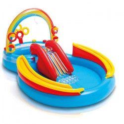 INTEX Piscine gonflable Enfant Arc en ciel / Aire De Jeux aquatique avec Toboggan - 297x193x135 cm