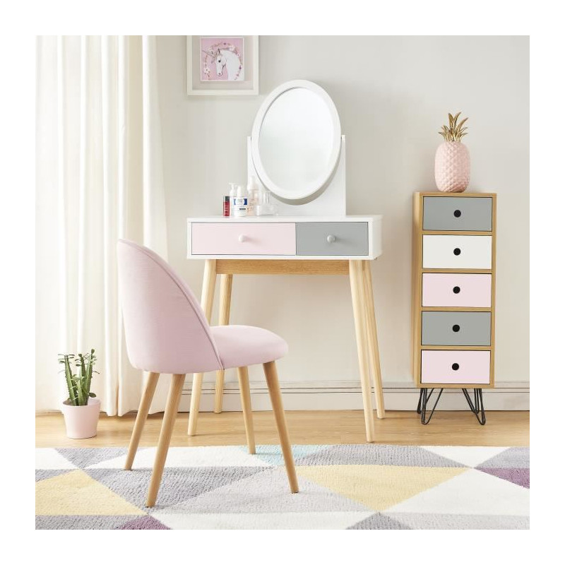 kacy coiffeuse scandinave laqu blanc rose et gris. Black Bedroom Furniture Sets. Home Design Ideas