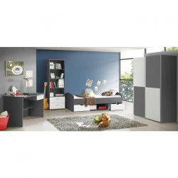 LUPO Chambre enfant complete style classique décor gris et blanc mat - l 90 x L 190 cm