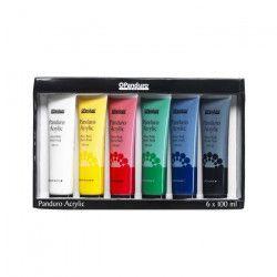 PANDURO Coffret de Base peinture acrylique - Epaisse - En tube de 100 ml - 6pc