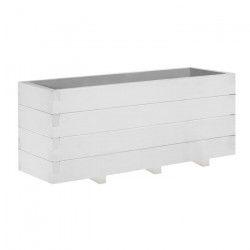 Jardiniere Domino triple - 30,5 x 91,5 x 40 cm - Lasuré en blanc